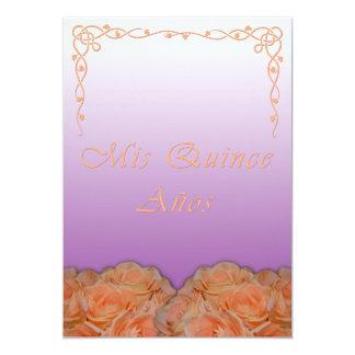 Invitaciones de Quinceanera en violeta española Invitación 12,7 X 17,8 Cm