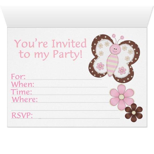 Invitaciones de relleno cumpleaños rosado de la