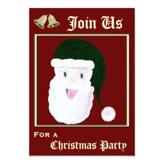 Invitaciones de risa de Santa (verde) Invitación 12,7 X 17,8 Cm