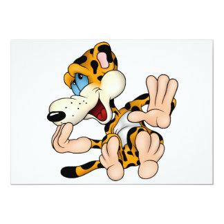 Invitaciones de risa del leopardo invitación 12,7 x 17,8 cm