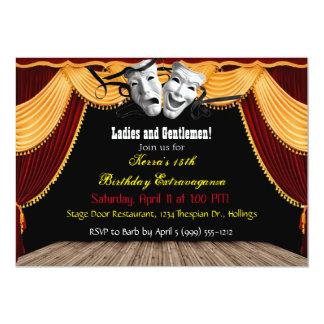 Invitaciones de teatro del fiesta invitación 12,7 x 17,8 cm