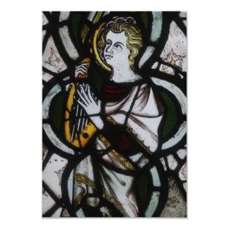 Invitaciones del ángel del vitral invitación 8,9 x 12,7 cm