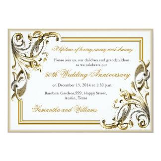 Invitaciones del aniversario de boda de oro invitación 12,7 x 17,8 cm