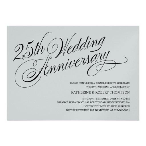 Invitaciones del aniversario de bodas de plata invitación personalizada