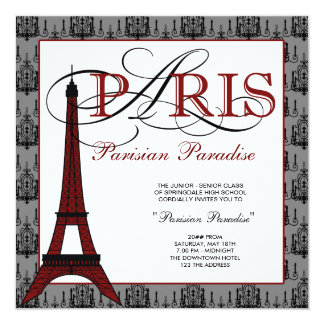 Invitaciones del baile de fin de curso de París Invitación 13,3 Cm X 13,3cm