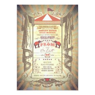 Invitaciones del baile de fin de curso del circo invitaciones personalizada