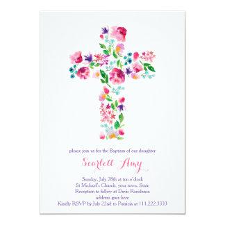 invitaciones del bautizo de la acuarela, púrpura invitación 12,7 x 17,8 cm