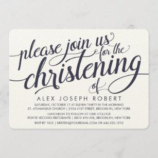 Invitaciones del bautizo de la caligrafía de la