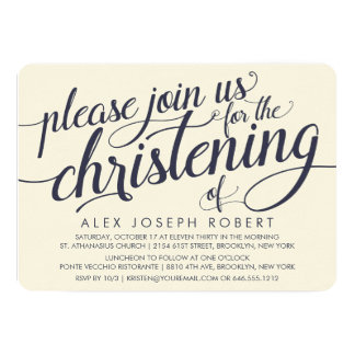 Invitaciones del bautizo de la caligrafía de la invitación 12,7 x 17,8 cm