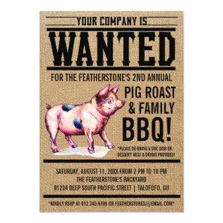 Invitaciones del Bbq de la familia de la carne Invitación 12,7 X 17,8 Cm