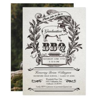Invitaciones del Bbq de la graduación - vintage Invitación 12,7 X 17,8 Cm