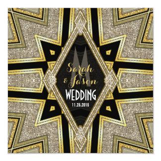 Invitaciones del boda de diamantes de Goldy del Anuncio