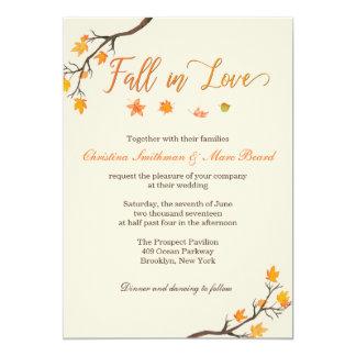 Invitaciones del boda de la caída - caída en amor invitación 12,7 x 17,8 cm