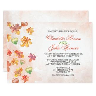 Invitaciones del boda de la caída de las hojas de invitación 12,7 x 17,8 cm