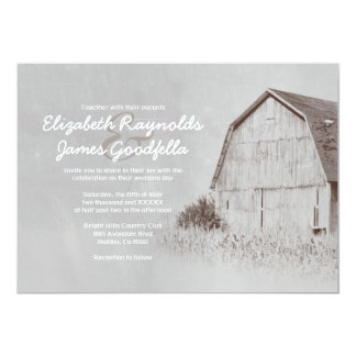 Invitaciones del boda de la granja del país invitación 12,7 x 17,8 cm