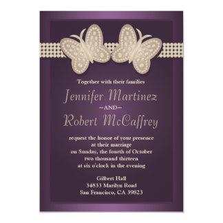 Invitaciones del boda de la mariposa de la invitación 12,7 x 17,8 cm