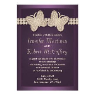 Invitaciones del boda de la mariposa de la berenje