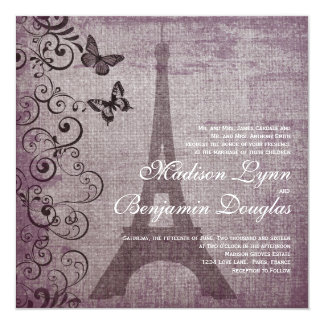 Invitaciones del boda de la mariposa de la torre invitación 13,3 cm x 13,3cm