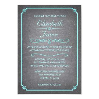 Invitaciones del boda de la pizarra del trullo y invitación 12,7 x 17,8 cm