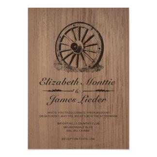 Invitaciones del boda de la rueda de carro invitación 12,7 x 17,8 cm