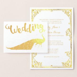 Tarjeta Con Relieve Metalizado Invitaciones del boda de la tipografía del pavo