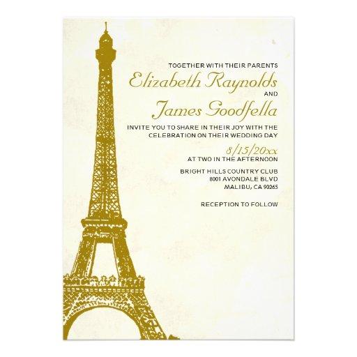Invitaciones del boda de la torre Eiffel del vinta Anuncios Personalizados
