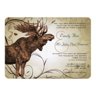Invitaciones del boda de los alces del vintage invitación 12,7 x 17,8 cm