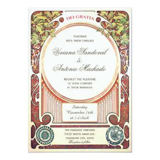 Invitaciones del boda de Nouveau del arte del Invitación 12,7 X 17,8 Cm