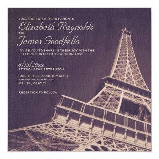 Invitaciones del boda de París del vintage Invitación 13,3 Cm X 13,3cm