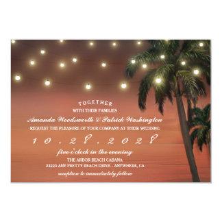 Invitaciones del boda de playa de la puesta del invitación 12,7 x 17,8 cm