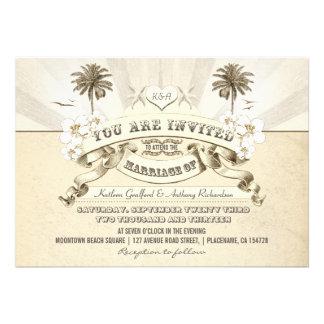 invitaciones del boda de playa de la tipografía de