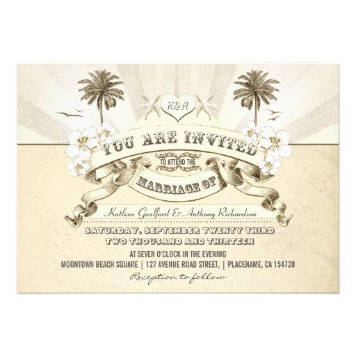 invitaciones del boda de playa de la tipografía de anuncio