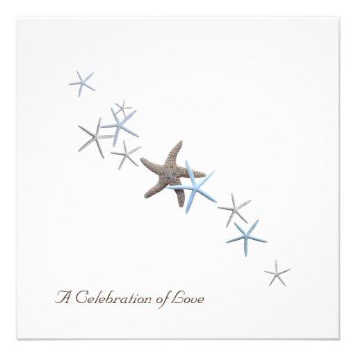 Invitaciones del boda de playa de las estrellas de comunicado