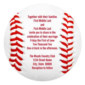 Invitaciones del boda del béisbol invitación 13,3 cm x 13,3cm
