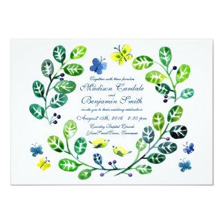 Invitaciones del boda del jardín de la mariposa de invitación 11,4 x 15,8 cm