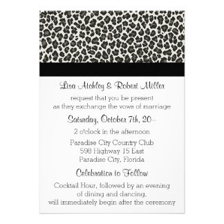 Invitaciones del boda del LEOPARDO del estampado Comunicado Personal