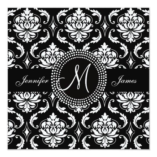 Invitaciones del boda del negro del damasco del invitación 13,3 cm x 13,3cm