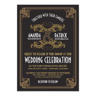 Invitaciones del boda del negro y del oro del