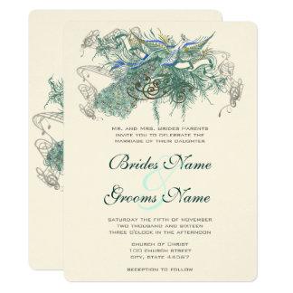 Invitaciones del boda del pavo real del cuento de