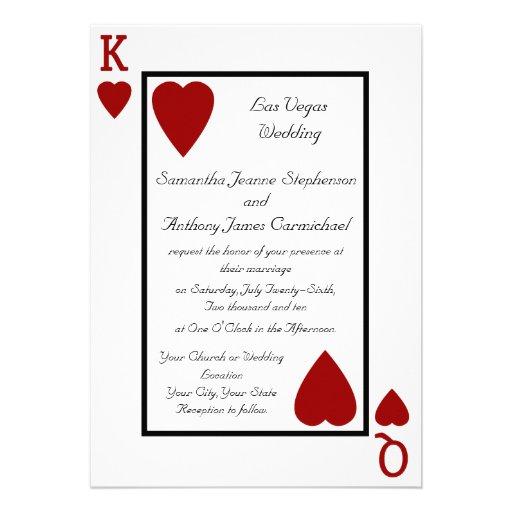 Invitaciones del boda del rey/de la reina del naip invitación personalizada
