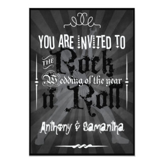 Invitaciones del boda del rollo del n de la roca invitación 12,7 x 17,8 cm