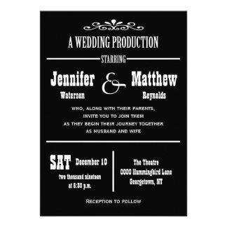 Invitaciones del boda del teatro del vintage de la