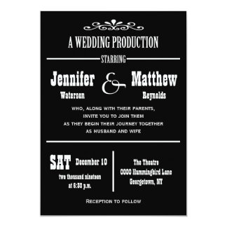 Invitaciones del boda del teatro del vintage de la invitación 12,7 x 17,8 cm