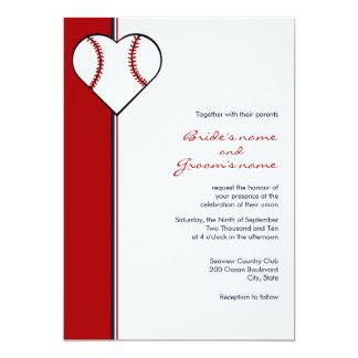 Invitaciones del boda del tema del béisbol invitación 12,7 x 17,8 cm