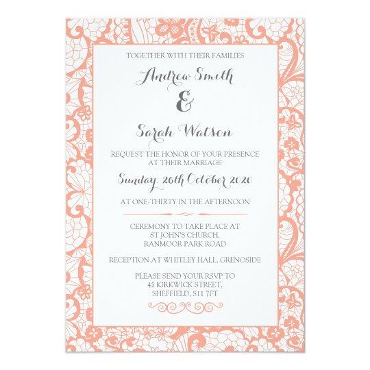 Invitaciones del boda, diseño coralino del cordón invitación 12,7 x 17,8 cm