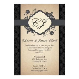 Invitaciones del boda elegantes y 5x7 floral con invitación 12,7 x 17,8 cm