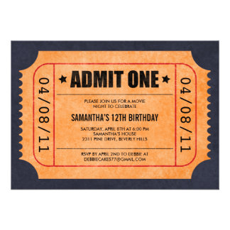 Invitaciones del boleto de la película comunicado personal