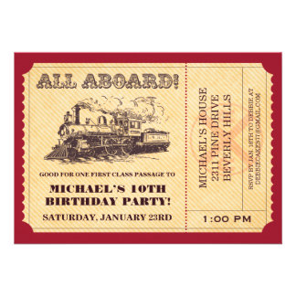 Invitaciones del boleto de tren invitaciones personalizada