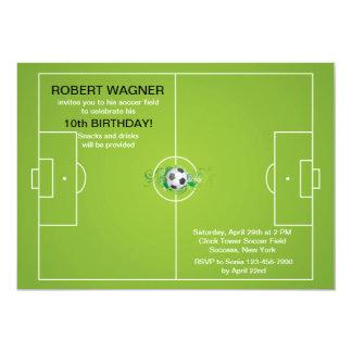 Invitaciones del campo de fútbol invitación 12,7 x 17,8 cm