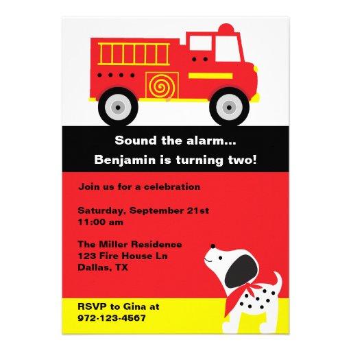 Invitaciones del coche de bomberos invitacion personal